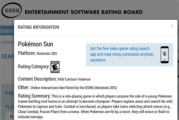 ESRB rating summaries on www.esrb.org