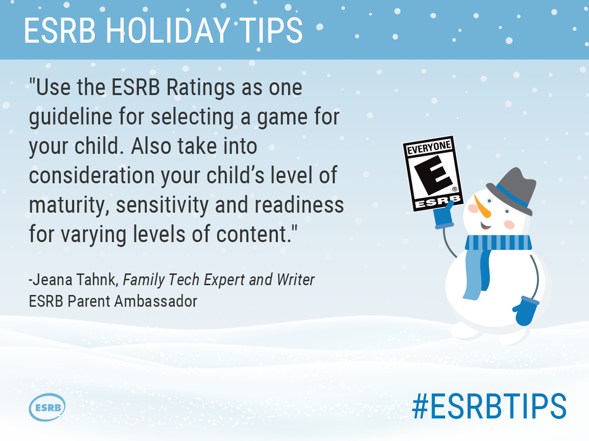 Use the ESRB Ratings as one guideline for selecting a game for your child. Also take into consideration your child's level of maturity, sensitivity and readiness for varying levels of content.