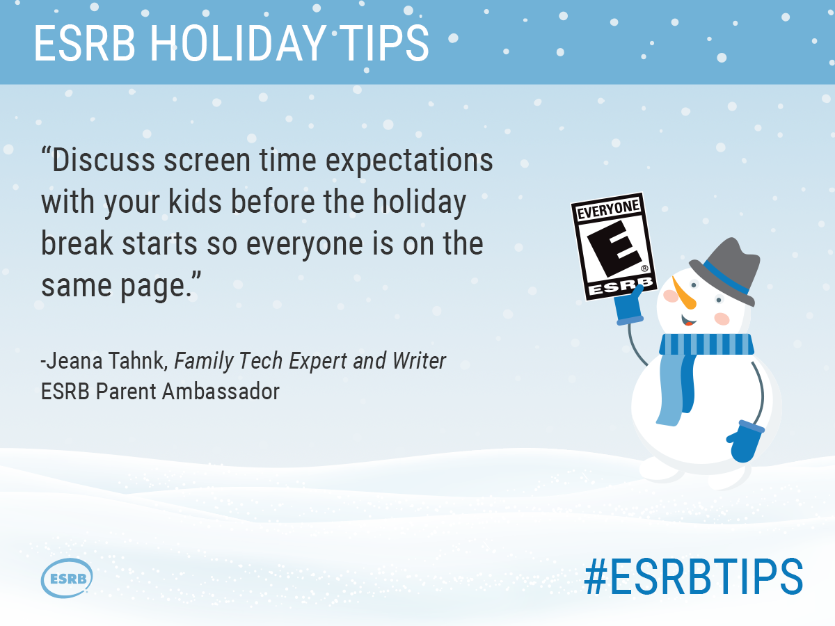 Discuss screen time expectations with your kids before the holiday break starts so everyone is on the same page.