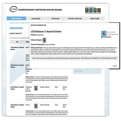ESRB rating summaries on www.esrb.org